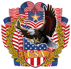 American Eagle With USA Flags Sticker