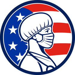 American Female Nurse Hero Retro Sticker
