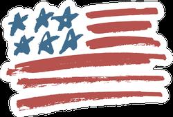 American Flag Brush Illustration Sticker