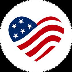 American Flag Heart Icon Sticker