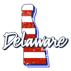 American Flag In Delaware State Map Sticker