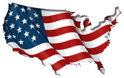 American Flag In USA Map Sticker