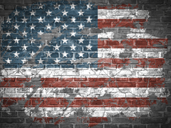 American Flag On Brick Wall Sticker