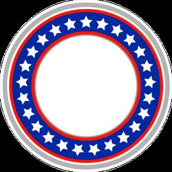 American Flag Round Frame Sticker
