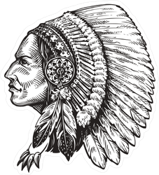 American Indian Chief Illustration Sticker