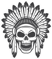 American Indian Skull in Headdress Sticker