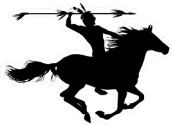 American Indian Throwing Spear on Horse Sticker