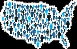 American People On USA Map Sticker