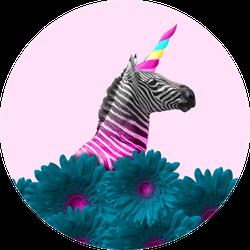 An Alternative Zebra Like A Unicorn In Blue Flowers Sticker