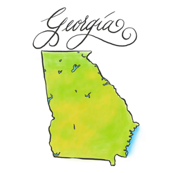 An Illustrated Map Of Georgia Lettering Sticker
