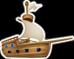 An Illustration Of A Cartoon Sailing Ship Boat Sticker