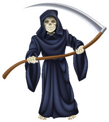 An Illustration Of A Grim Reaper Death Character Sticker