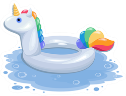 An Inflatable Pool Ring Shaped Like A White Unicorn Sticker