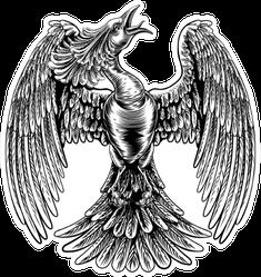 An Original Illustration Of A Phoenix Fire Bird Vintage Sticker