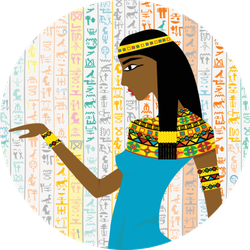 Ancient Egyptian Woman Over Egyptian Hieroglyphs Sticker