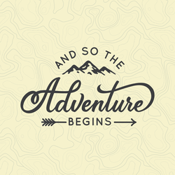 And So The Adventure Begins Topographical Map Sticker