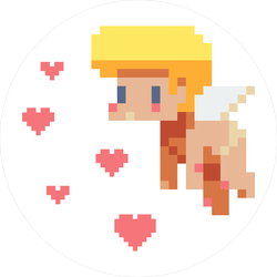 Angel Cupid Pixel Art Circle Sticker