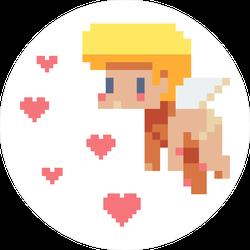 Angel Cupid Pixel Art Circle Sticker