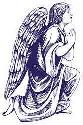 Angel Prays On His Knees Illustration Sticker