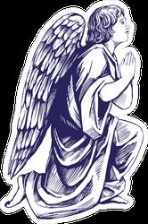 Angel Prays On His Knees Illustration Sticker