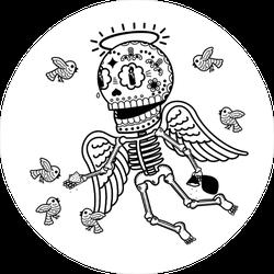 Angel Sugar Skull Sticker
