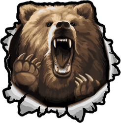 Angry Bear Ripping Through Sticker