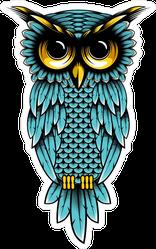 Angry Cartoon Blue Owl Sticker