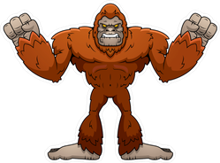 Angry Cartoon Sasquatch Sticker