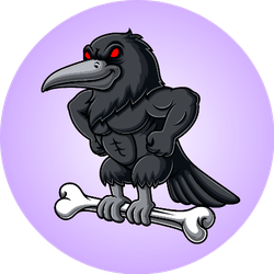 Angry Crow Carrying Bone Illustration On Purple Sticker