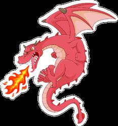 Angry Dragon Cartoon Sticker
