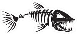 Angry Fish Skeleton Sticker