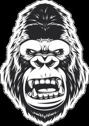 Angry Gorilla Head Sticker