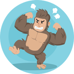 Angry Gorilla Illustration On Blue Sticker