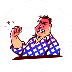 Angry Man Threatening With His Fist Sticker