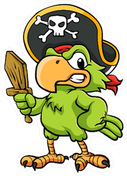 Angry Pirate Parrot Sticker