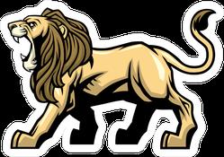 Angry Roaring Lion Mascot Sticker