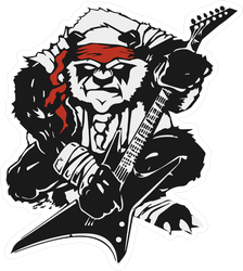 Angry Stylized Black Panda With A Guitar Sticker