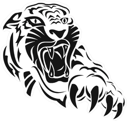 Angry Tiger with Claws Sticker