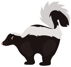 Animal Flat Color Skunk Icon Sticker