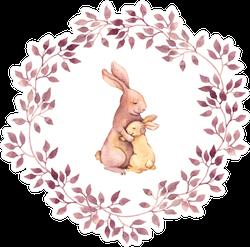 Animal Hugs - Mother Rabbit Embrace Her Baby Sticker