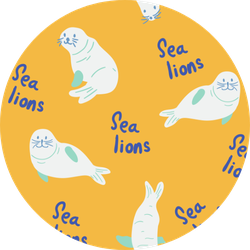 Animal Pattern With Cute Sea Lions On Yellow Sticker