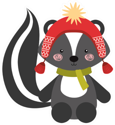 Animal Skunk In Winter Clothes Sticker