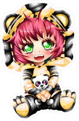 Anime Bear Girl Sticker