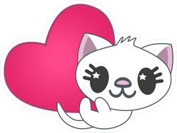 Anime Cat with Pink Heart Sticker