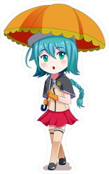 Anime Girl Holding Umbrella Sticker