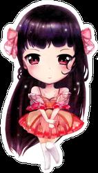 Anime Girl In Red Dress Sticker