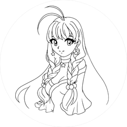 Anime Girl With Braids And Big Eyes Sticker