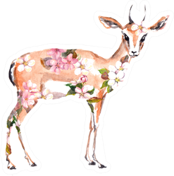 Antelope Animal In Flowers Watercolor Sticker