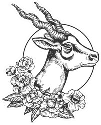 Antelope Head Animal Floral Illustration Sticker