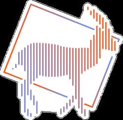 Antelope Line Art Gradient Sticker